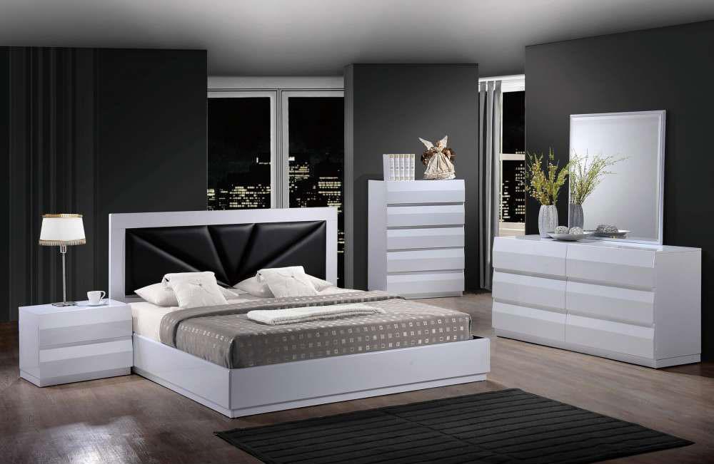 bailey modern white bedroom set black