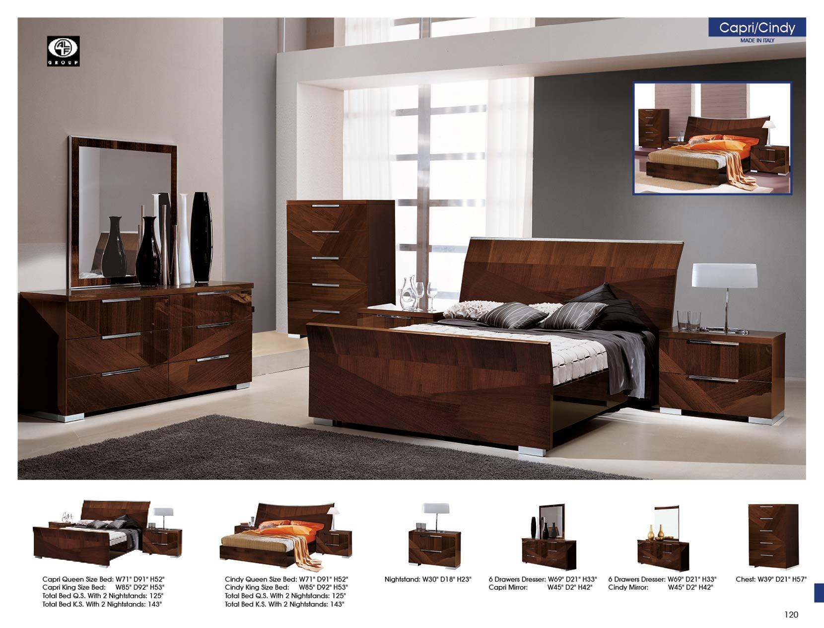 esf capri bedroom set in walnut lacquer
