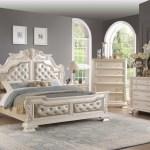 Cosmos Furniture Victoria Bedroom Set In Antique White