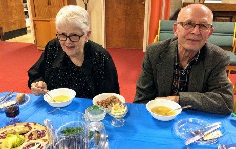 Seder celebrants enjoyed matzoh ball soup