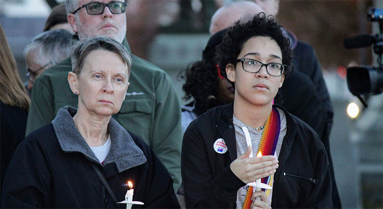 UHC members join Stand Against Hate Candlelight Vigil at Vigo County Courthouse