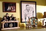 Patty has adorned her home hearth with Judaica items and a photo of Temple Israel in the snow.