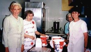 KFC in the UHC kitchen! From left: Anne Gurman, Terry Brodie, Beatzy Becker, unidentified (in white).