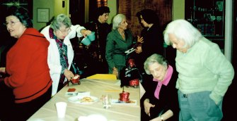 From left: Louise Sommers, Terry Brodie, Tamar Wann, Beatzy Becker, unidentified, Marian Abels (seated, in pink), Evelyn Cutler.
