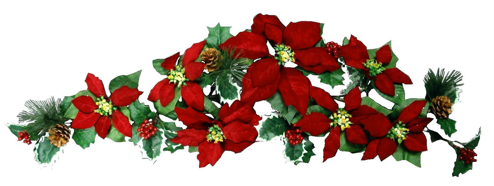 W001 Micro Pitch Red Poinsettia Swag Holiday Flowers