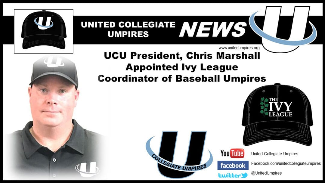 Marshall Appointed Ivy League Coordinator of Baseball Umpires