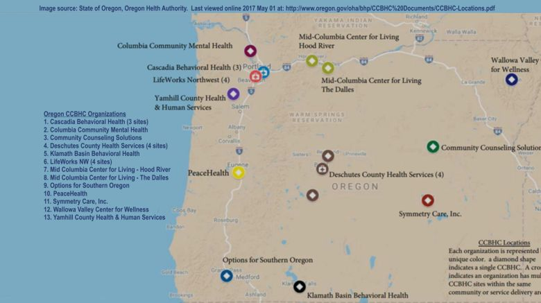 Oregon map of Certified Behavioral Health Clinics