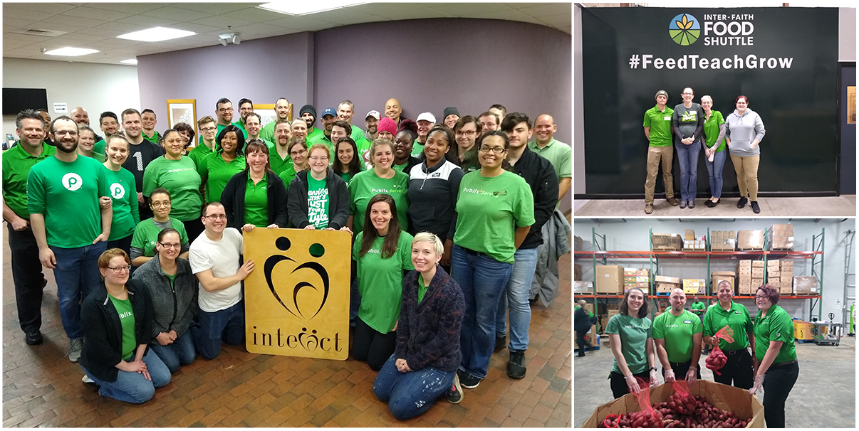 Publix employees posing at three different volunteer opportunities presented by United Way of the Greater Triangle