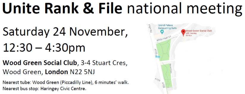 Image of leaflet for Unite Rank & File meeting 24 November 2018