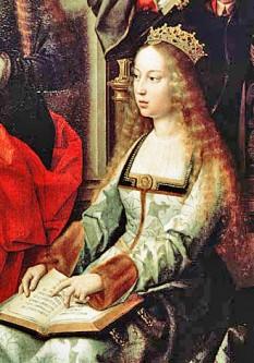Isabela I (Spaniola: Isabel I, Ysabel, Galiciana: Sabela I) (n. 22 aprilie 1451 - d. 26 noiembrie 1504) a fost Regina Castiliei și Leonului. Ea și soțul său Ferdinand al II-lea de Aragon au adus stabilitatea ambelor regate care au devenit bazele unificării Spaniei. Mai târziu, cei doi au pus bazele fundației pentru unificarea politică a Spaniei realizată de nepotul lor, Carol Quintul. Ea este cunoscută la nivel mondial după forma Latină a numelui său, Isabella. Papa Alexandru al VI-lea i-a numit pe Isabella si pe soțul ei Monarhi Catolici, deci este de multe ori cunoscută sub numele de Isabel la Católica (Isabela Catolica) - foto: ro.wikipedia.org