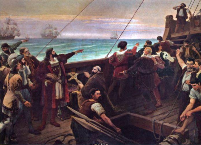 Cabral (centru-stânga, arătând cu degetul) vede Brazilia pentru prima oară la 22 aprilie 1500 - foto preluat de pe ro.wikipedia.org