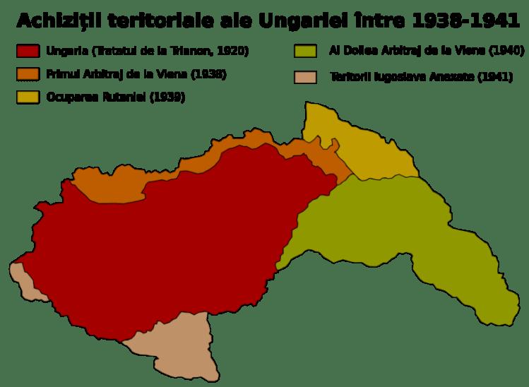 Dictatul de la Viena şi alte achiziţii teritoriale ale Ungariei (1938-1941) - foto preluat de pe ro.wikipedia.org
