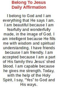 Belong to Jesus Daily Affirmation