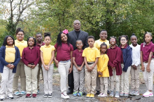 Grade 3 class picture with teacher Rev. Dr. Stallworth