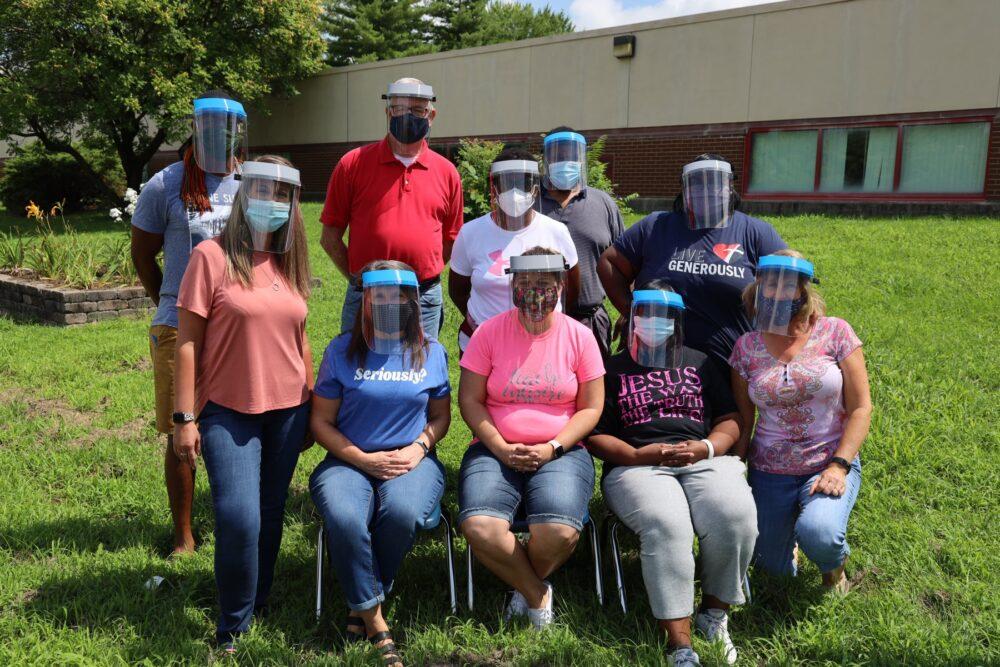 Unity teachers wearing face shields