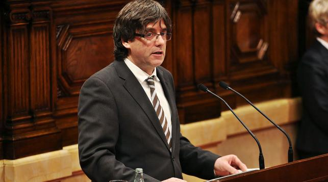 Puigdemont public address on independence in Catalonia
