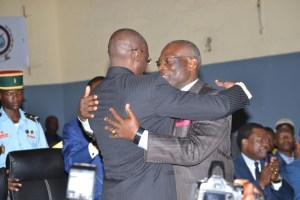 The Rector and his mentor, Prof Bruno Bekolo during the ceremony