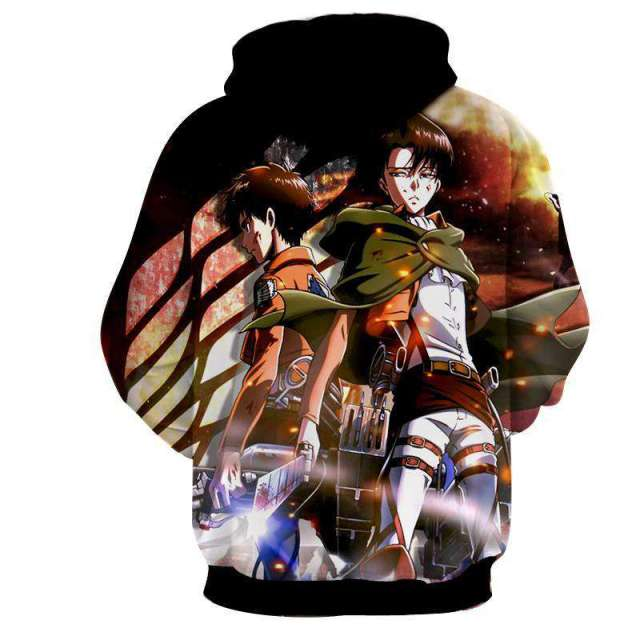 Pull à capuche 3D All Over Attack On Titans Eren X Rivaille