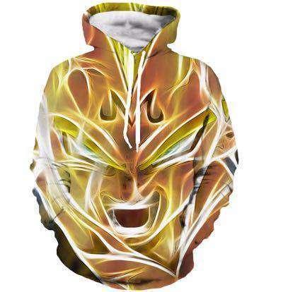 Pull à capuche 3D All Over Dragon Ball Z Vegeta Super Saiyan