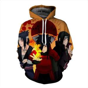 Pull à capuche 3D All over Naruto Clan Uchiha