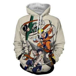 Pull à capuche 3D All over Naruto X Hinata X Rock Lee