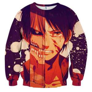 Pull classique 3D All Over Attack On Titans Eren Titan