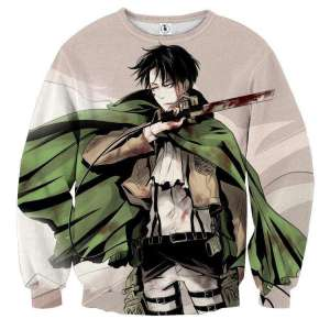 Pull classique 3D All Over Attack On Titans Levi Rivaille 2
