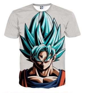 T Shirt 3D All Over Dragon Ball Super Goku Super Saiyan God Blue