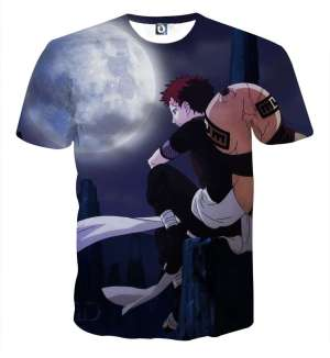 T Shirt All Over 3D Naruto Gaara Moon