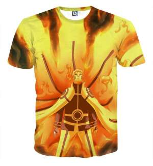 T Shirt All Over 3D Naruto Hokage Kyubi Mode