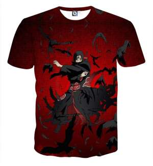 T Shirt All Over 3D Naruto Itachi Genjutsu