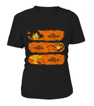 T Shirt Femme Crossover Dragon Ball X One Piece X Naruto