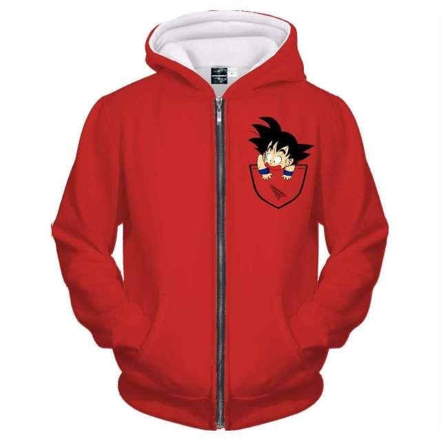 Veste à capuche 3D All Over Dragon Ball Z Goku Pocket