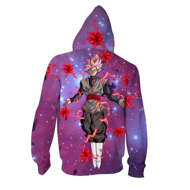 Pull à capuche 3D All Over Dragon Ball Super Black Galaxy