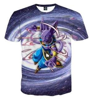 T Shirt 3D All Over Dragon Ball Super Beerus Galaxy