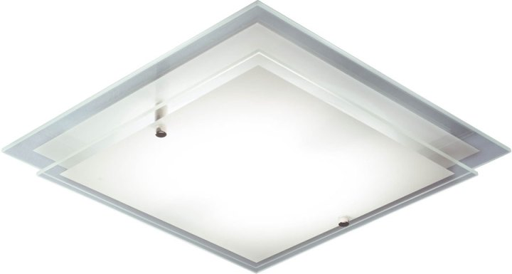 Dar Frame Modern Square Glass Flush Ceiling Light Fitting FRA472 Dar Frame Modern Square Glass Flush Ceiling Light Fitting