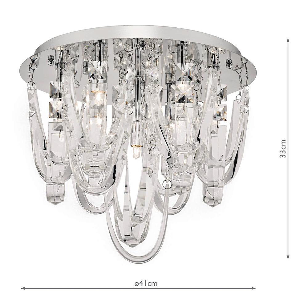 https www universal lighting co uk products dar roxanne luxury crystal 7 lamp flush low ceiling light chrome