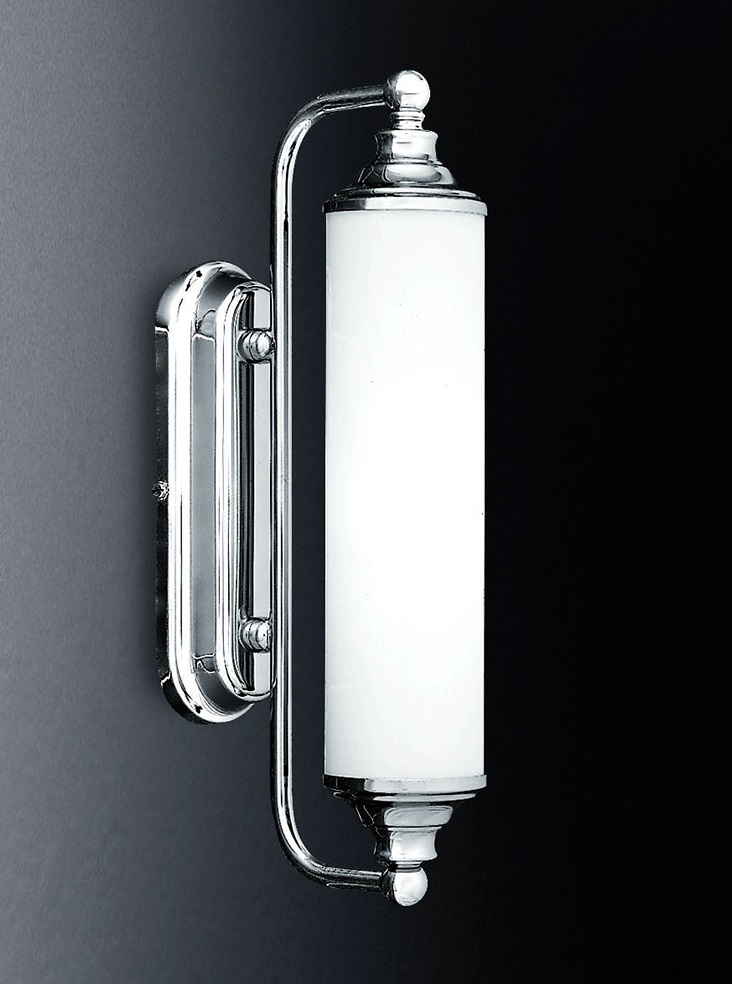 art deco style bathroom wall light chrome opal white glass ip44