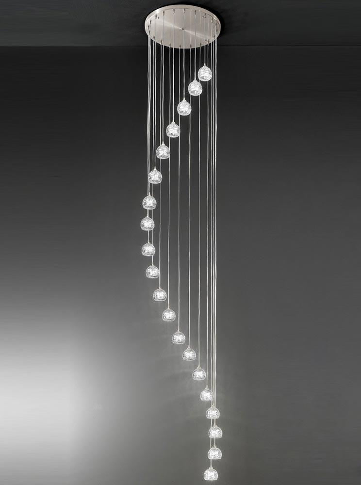modern 20 light spiral stairwell pendant satin nickel cut glass shades