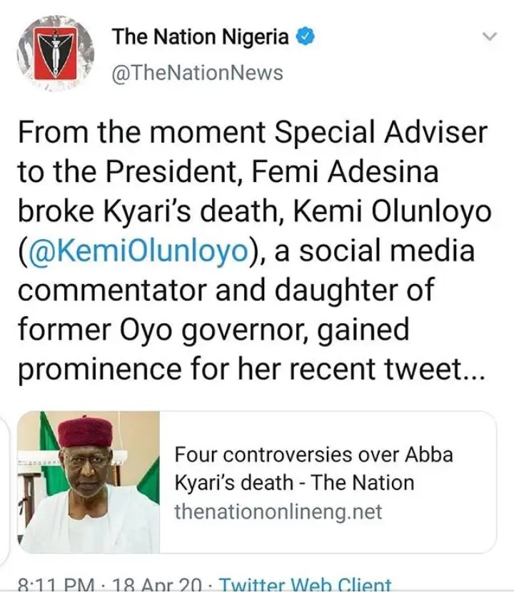 IMG_20200419_114408_397 Kemi Olunloyo threatens to sue The Nation Newspaper for claiming Abba Kyari's death gave her fame