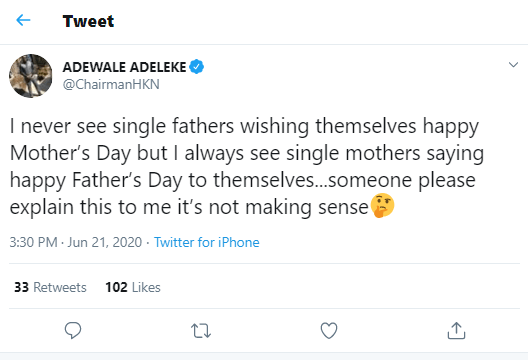 Screenshot-5 Davido's brother, Adewale, reacts to single moms wishing themselves happy Father's Day