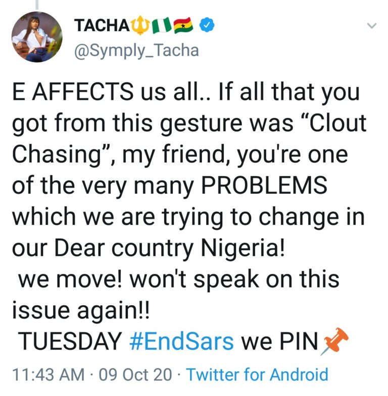 """IMG_20201009_164935_527-768x785-1 You are one of the problems we are trying to change in Nigeria – Tacha fires back at man who called her """"dirty, smelling girl"""""""