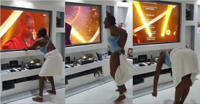 UCScreenshot20200928121551 Excited fan removes her towel and bows before Laycon as he wins #BBNaija 2020