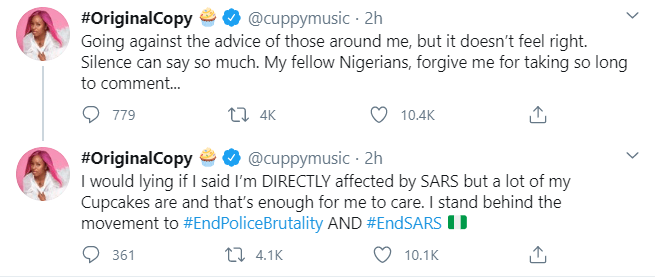 """dj-Cuppy Going against the advice of those around me"""" – DJ Cuppy says as she breaks silence on #EndSARS"""