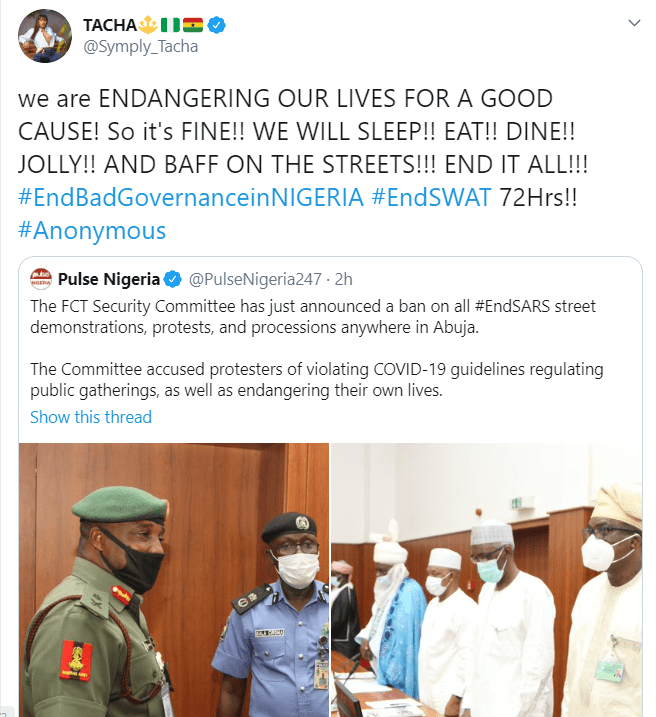 """tacha """"We are endangering our lives for a good cause"""" – Tacha speaks as FCTA bans #EndSARS protest in Abuja"""