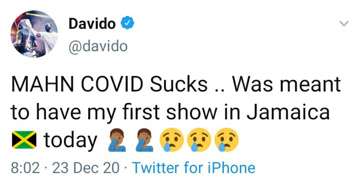 """377f7057-7bd4-4892-8ffe-9dfed057234a """"COVID Sucks"""" – Davido Cries As He Laments Over The Cancellation Of His First Show In Jamaica"""