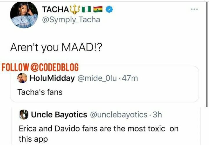 "unnamed-3-2 ""Aren't You MAAD!?"" – Tacha Lambast Troll Who Said Her Fans Are The Most Toxic"