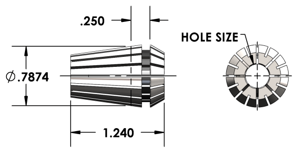 "Universal Devlieg - ER20 Collet - Hole Size 3/64"""