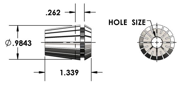 Universal Devlieg - ER25 Collet - Hole Size 16.5mm