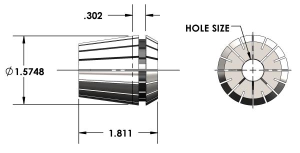 "Universal Devlieg - ER40 Collet - Hole Size 3/32"""